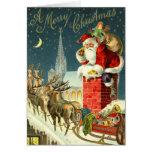 Cartão do papai noel do natal vintage