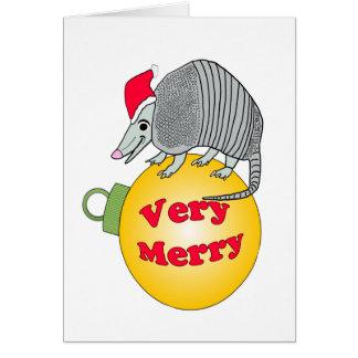 Cartão Do papai noel do tatu Feliz Natal muito