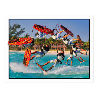 Cartão do Para trás-rolo do surfista do papagaio