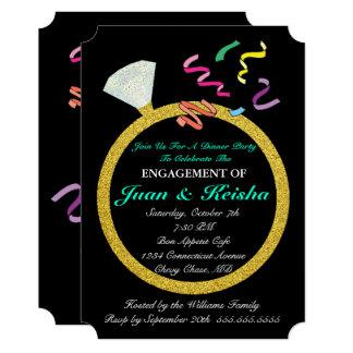 Cartão do partido dos confetes do noivado do anel convite 12.7 x 17.78cm