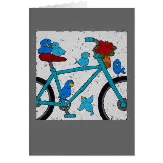 Cartão do pássaro da bicicleta