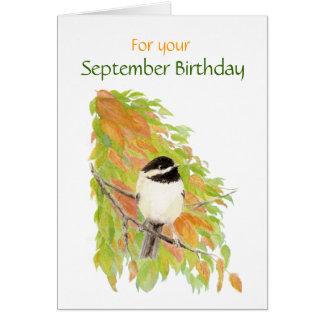 Cartão do pássaro do Chickadee do aniversário de