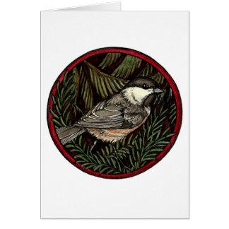 Cartão do pássaro do inverno do Chickadee