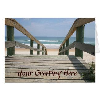 Cartão do passeio à beira mar do oceano