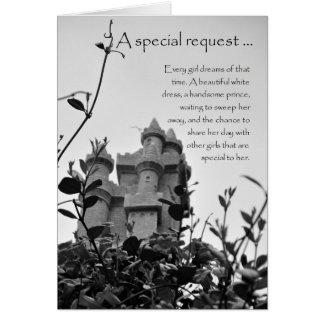 Cartão do pedido da dama de honra do castelo do
