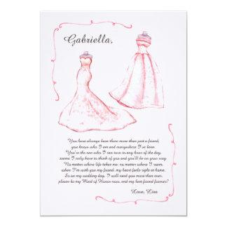 Cartão do pedido da madrinha de casamento convite 12.7 x 17.78cm