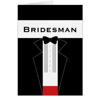 Cartão do pedido do Bridesman do smoking