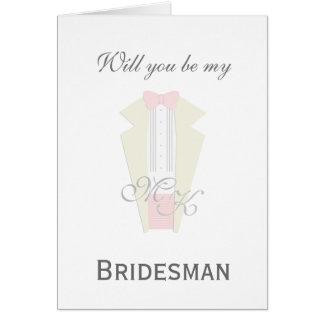 Cartão do pedido do Bridesman do smoking do