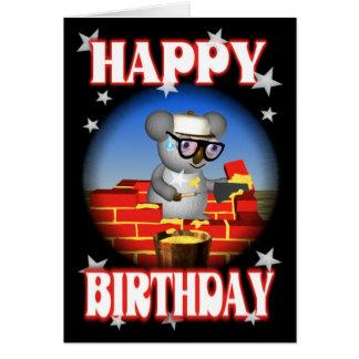 Cartão do pedreiro do Koala do feliz aniversario