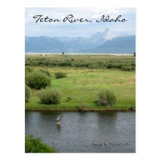 Cartão do pescador do rio de Teton, Idaho