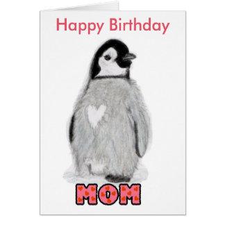 Cartão do pinguim da mamã do feliz aniversario