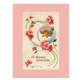 Cartão do pintinho da páscoa do vintage