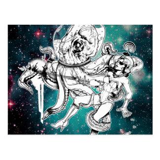 Cartão do pintinho e do polvo do espaço