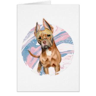 """Cartão Do """"pintura da aguarela do cão do pitbull das"""