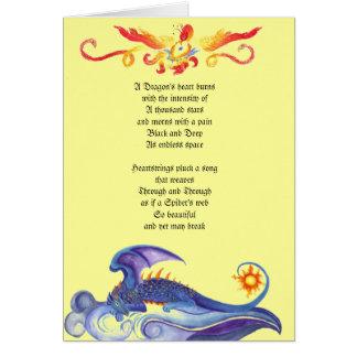 Cartão do poema do coração do dragão