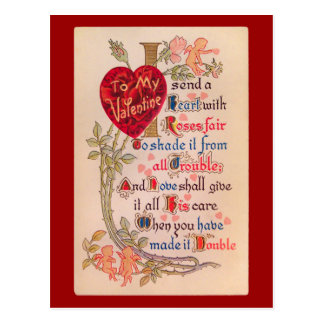 Cartão do poema dos namorados do vintage