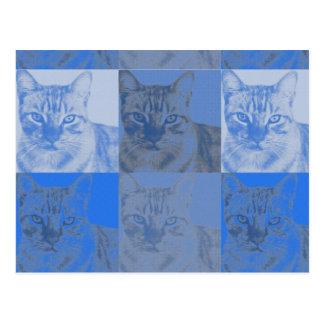 Cartão do pop art do gato azul