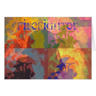 Cartão do pop art do sapador-bombeiro