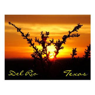 Cartão do por do sol da escova de Del Rio Texas