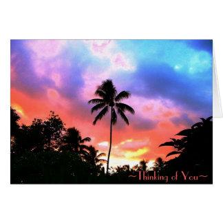 Cartão do por do sol da ilha