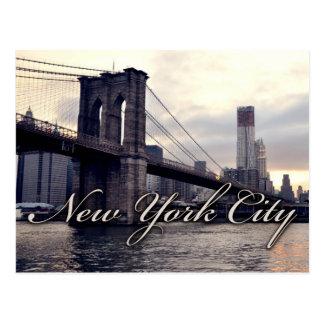 Cartão do por do sol da ponte de New York Brooklyn