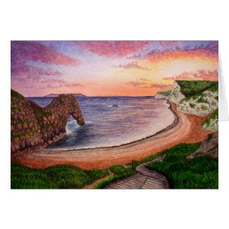 Cartão do por do sol da porta de Durdle