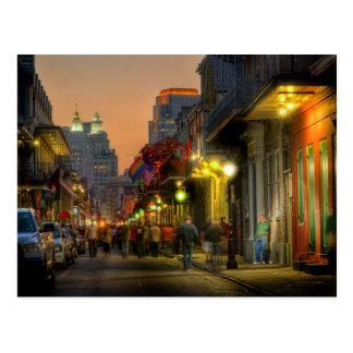 Cartão do por do sol da rua de Bourbon