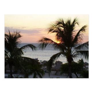 Cartão do por do sol de Aruba da praia de Eagle