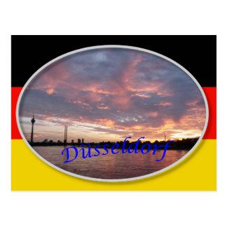 Cartão do por do sol de Dusseldorf
