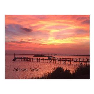 Cartão do por do sol de Galveston Texas