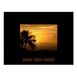 Cartão do por do sol de Nevis