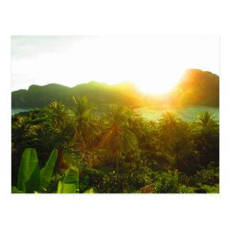 Cartão do por do sol de Tailândia
