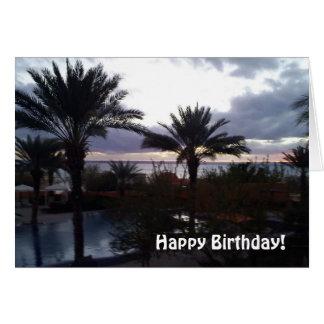 Cartão do por do sol do aniversário