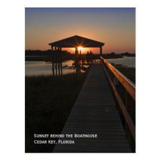 Cartão do por do sol do Boathouse