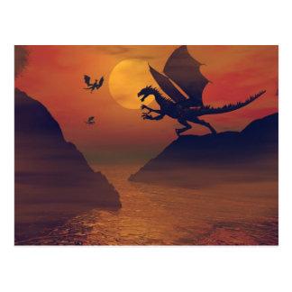 Cartão do por do sol do dragão