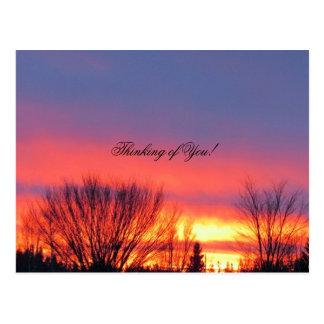 Cartão do por do sol do inverno