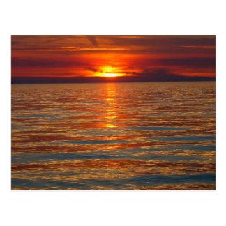 Cartão do por do sol do Lago Michigan