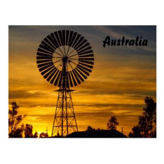 Cartão do por do sol do moinho de vento