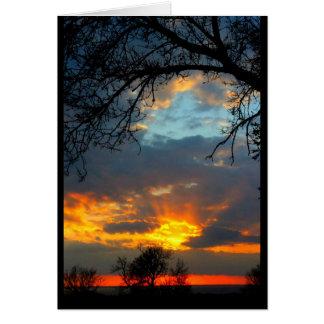 Cartão do por do sol do Winnebago do lago