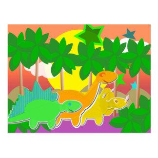 Cartão do por do sol dos dinossauros