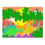 Cartão do por do sol dos dinossauros cartão postal