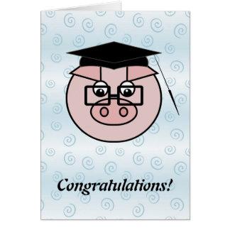 Cartão do porco da graduação