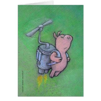 cartão do porco do foguete