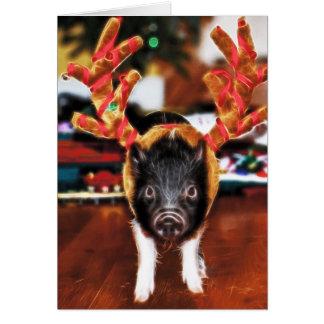 Cartão do porco do Natal
