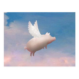 cartão do porco do vôo
