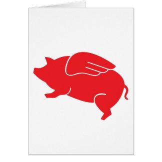 Cartão 🐷 do porco do vôo