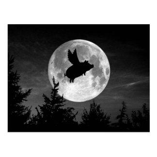 cartão do porco do vôo da Lua cheia