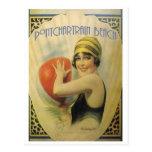 Cartão do poster da praia de Pontchartrain Cartão Postal