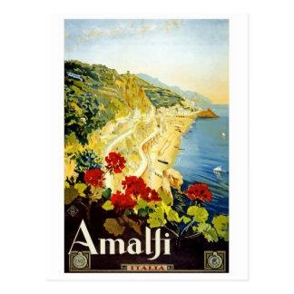 """Cartão do poster das viagens vintage de """"Amalfi"""""""