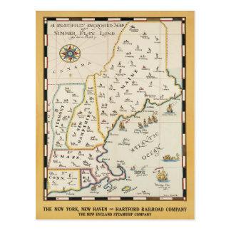 Cartão do poster de viagens do mapa de Nova